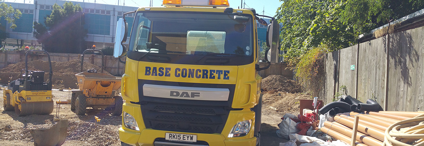 Base concrete truck at a worksite