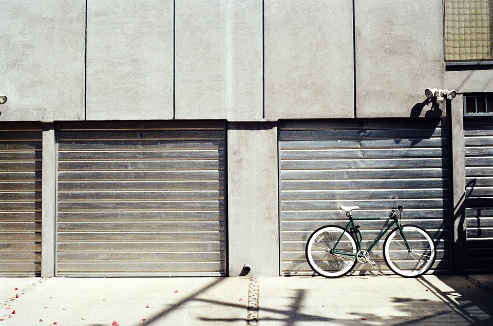 concrete garages with bike