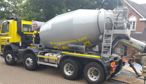 Mixer truck outside home